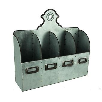 Rustic Galvanized Metal 4 Compartment Wall Organizer