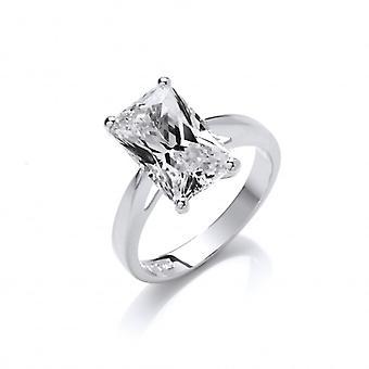 Cavendish französische Silber und Smaragd geschnitten Zirkonia Solitaire-Ring