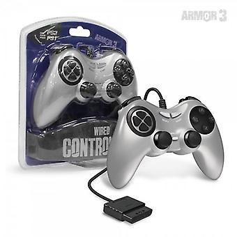 PS2 Przewodowy kontroler gier (srebrny) - Armor3