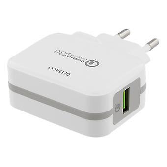 DELTACO Väggladdare USB, Qualcomm Quick Charge 3.0, 19,5W