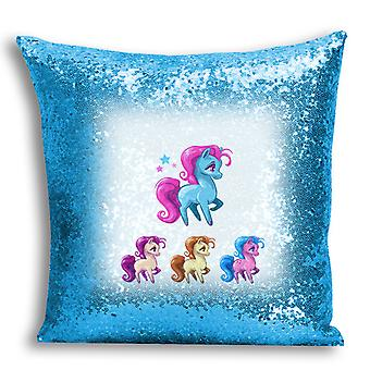 i-Tronixs - Unicorn Printed Design Blue Sequin Cushion / Pillow Cover for Home Decor - 11