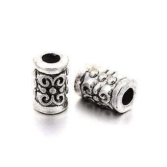 Pakke 30 x Antikk sølv tibetanske 5 x 7mm rør Spacer perler HA17055