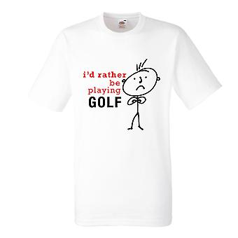 Mens I'd Rather Be Playing Golf White Tshirt