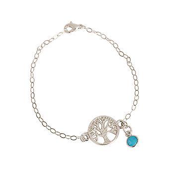 GEMSHINE YOGA armbånd Tree of Life turkis solid 925 sølv