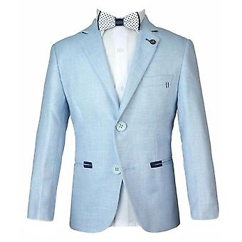 Boys Summer Ice Blue Linen Blazer Jacket
