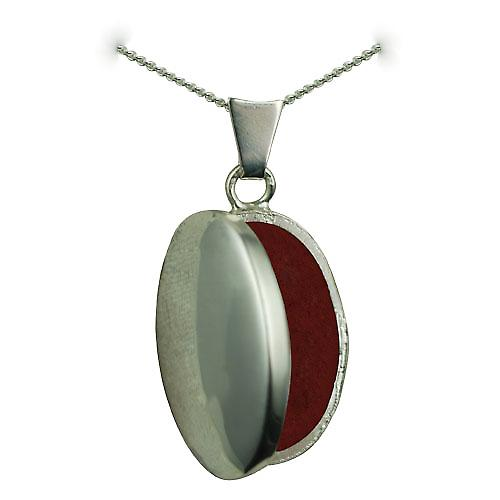 Silver 22x15mm plain oval Locket with a curb chain