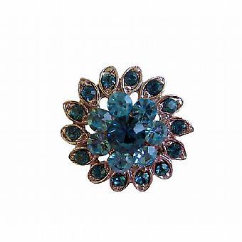 Aquamarine Indicolite Crystal sølv Casting blomst mote brosje Pin