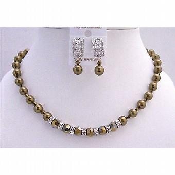 Expresso Pearls Dorado Crystals Swarovski Handcrafted Bridal Necklace