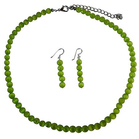 Green Cat Eye Jewelry 6mm Green Cat Eye Beaded Necklace & Sterling Silver Earrings Set Handmade