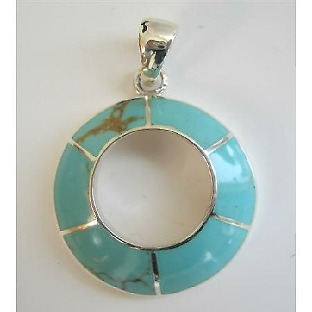Round Green Turquoise Sterling Silver Round Pendant