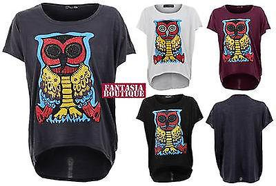 Ladies Batwing Celeb Studded Owl  Colourful Print Baggy T-Shirt Women's Top