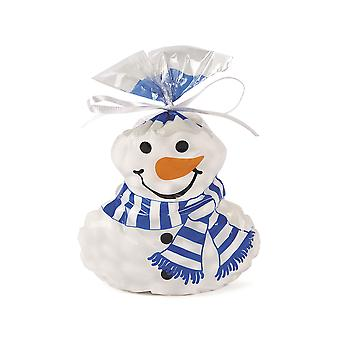 12 Snowman Shaped Printed Cellophane Christmas Party Bags