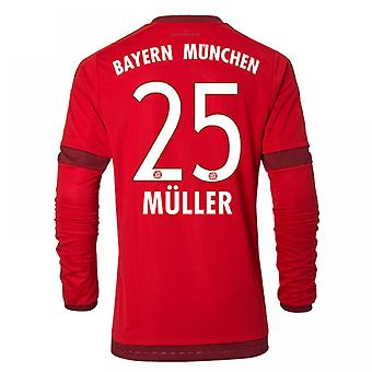 2015-16 Bayern München Long Sleeve Home Shirt (Muller 25) - Kids