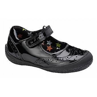 Hush Puppies ragazze Rina scuola scarpe nero vernice F Raccordo