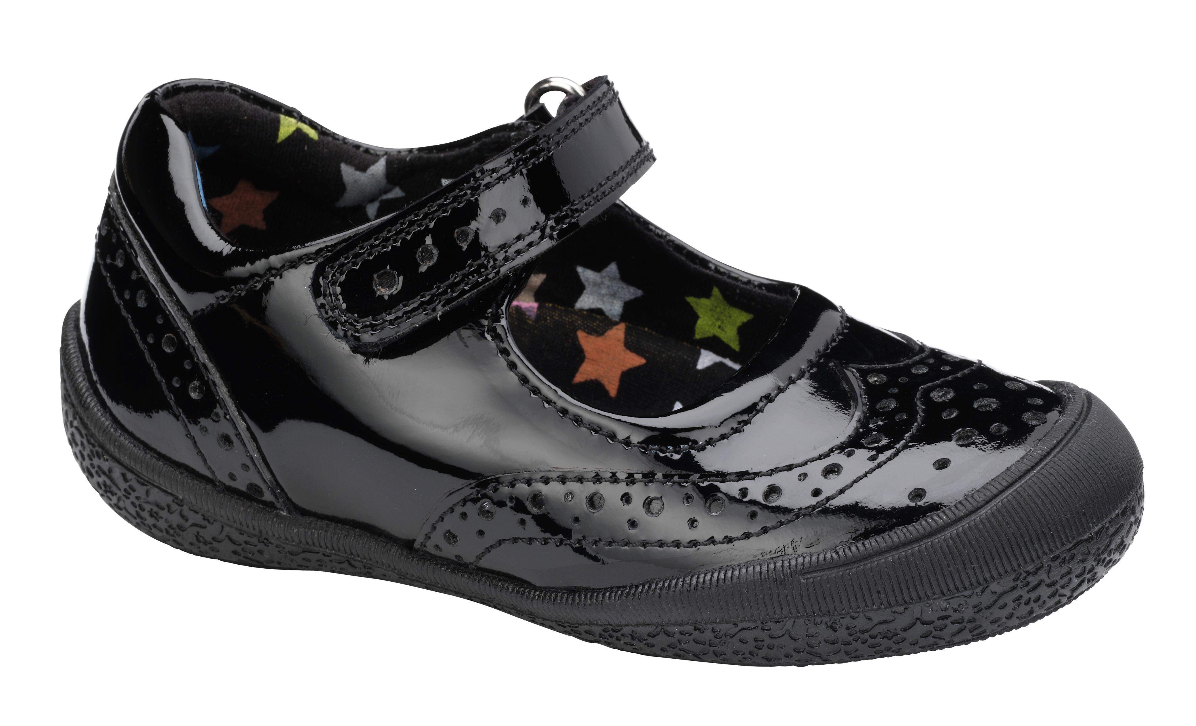 Hush Puppies Girls Rina School chaussures noir Patent F Fitting