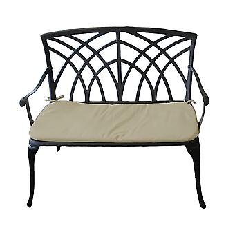 Charles Bentley Metal Cast Aluminium 2 Seater Garden Patio Bench Seat with Cushion - Lightweight Weatherproof