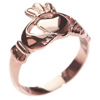 Engraved with Love, Loyalty, Friendship - Rose Gold Over Steel Celtic Claddagh Ring
