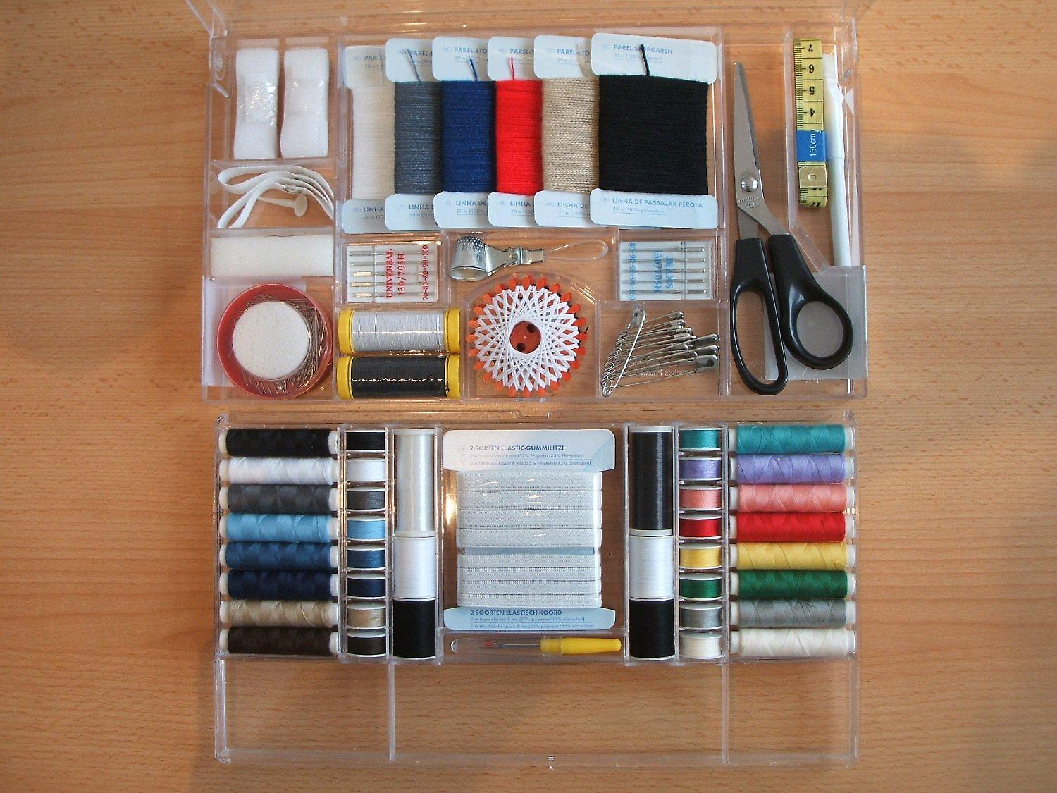 SewPro - 373 Piece Deluxe All in One Sewing Kit with Variety of Threads Yarns Needles Pins Scissor Tape Buttons and More + Beginners Guide Ideas BOOKLET