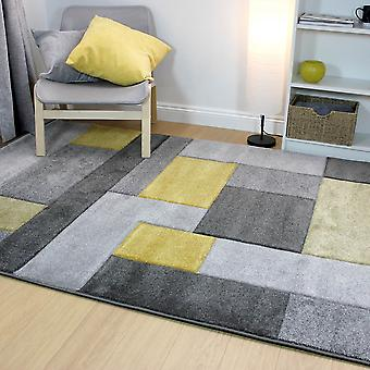 Hand Carved Cosmos Grey Ochre  Rectangle Rugs Modern Rugs
