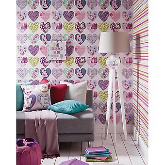 Arthouse Patchwork Coeur Floral Pattern Typography Flower Fond d'écran 668501