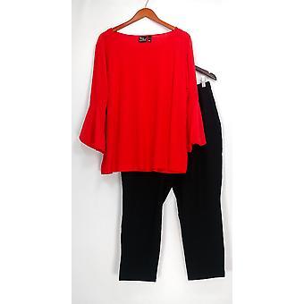 Vrouwen met controle Petite set Flouce mouw boven-en enkel Pant Rood A341933