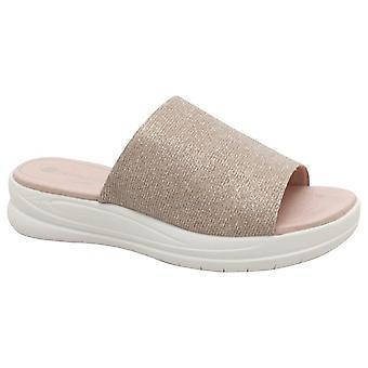 Remonte Flatform Slide On Rose Shimmer Sandal
