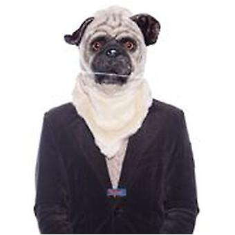Pug dog mask with movable snout mens costume