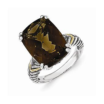 925 Sterling Silver With 14k Smokey Quartz Ring - Ring Size: 6 to 8