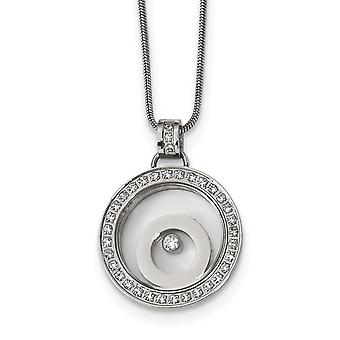 Stainless Steel With Cubic Zirconia Floating Glass Circles Necklace - 18 Inch