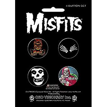 The Misfits 4 ronde Pin Badges in Pack (cv)