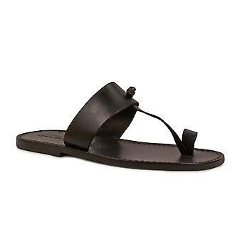 Black leather thong sandals Handmade in Italy