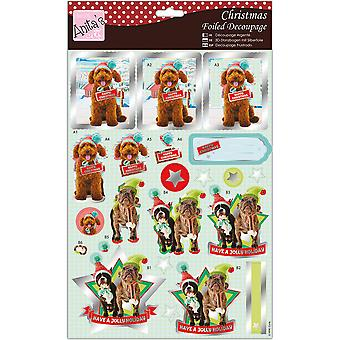 Anita's A4 Foiled Decoupage Sheet-Christmas Hounds A169693