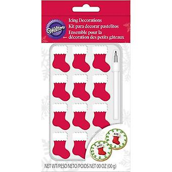 Royal Icing Decorations W/Food Writer 13/Pkg-Stockings W7260