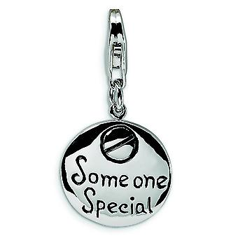 Sterling Silver Solid Enamel Polished back Rhodium-plated Fancy Lobster Closure Someone Special Inscribed Round With Lob