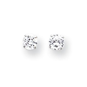 14 k or blanc 4mm zircon cubique Post boucles d'oreilles - mesures 4x4mm