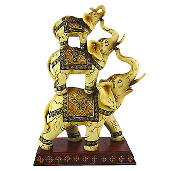Wonderful Antiqued Stacked Elephant Trio Statue