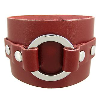 Brown Leather Chrome O Ring Wristband Bracelet