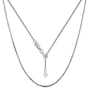 10k White Gold Adjustable Box Link Chain Necklace, 0.85mm, 22