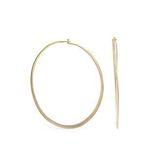 14 Karat Gold-Flashed Sterling Silver 55mm Flat Hoop Earrings