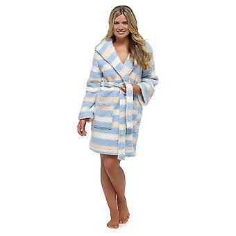 Ladies Foxbury Soft Warm Striped Sherpa Snuggle Fleece Dressing Gown Bathrobe