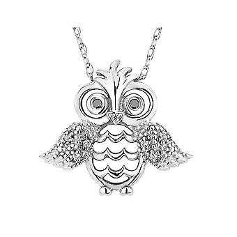 Diamond Owl Pendant Necklace in Sterling Silver with Chain