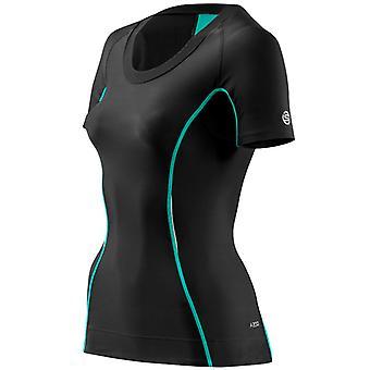 Skins Women A200 Short Sleeve Top Laufshirt Black-Cerulean - B61065004