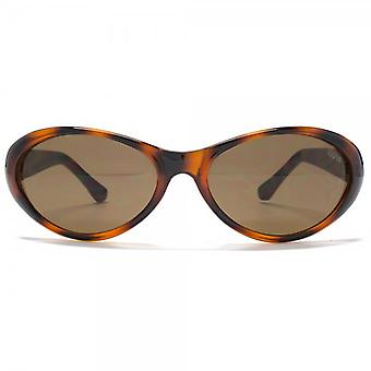 SUUNA Emily Oval Wrap Sunglasses In Tortoiseshell