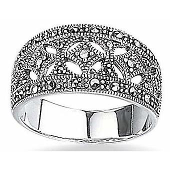 Fashionable Marcasite Ring Silver 925
