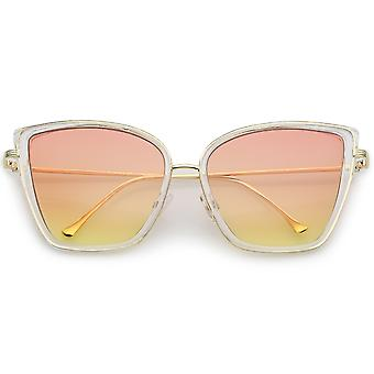 Women's Oversize Cat Eye Sunglasses With Slim Arms Colored Gradient Lens 56mm