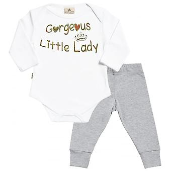 Spoilt Rotten Gorgeous Little Lady Babygrow & Jersey Trousers Outfit Set