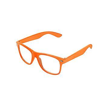 Retro Vintage Colour Unisex Punk Geek Wayfare Style Zero Number Clear Lens Glasses Eyewear - Orange