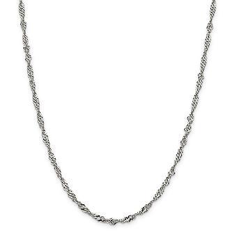 Sterling sølv, poleret hummer klo lukning 3,50 mm Singapore kæde halskæde - hummer klo - længde: 16 til 24