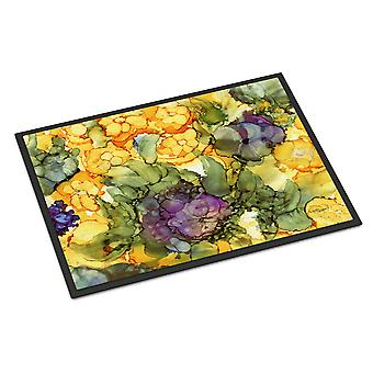 Abstract Flowers Purple and Yellow Indoor or Outdoor Mat 18x27