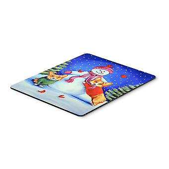 Carolines Treasures  7048MP Snowman with Corgi Mouse Pad, Hot Pad or Trivet